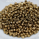 50 Beads - 2x3mm Micro Spacer - Metallic Light Bronze - Faceted Czech Glass