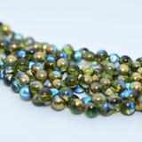 6x5mm Mushroom (50 beads) - Olive Gold Rainbow - Czech Glass
