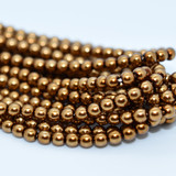 120 Beads - Antique Gold - 4mm Round Czech Glass Pearl