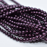 120 Beads - Eggplant - 4mm Round Czech Glass Pearl