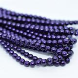 120 Beads - Purple - 4mm Round Czech Glass Pearl