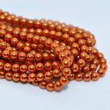 120 Beads - Burnt Orange - 4mm Round Czech Glass Pearl