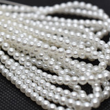 120 Beads - White - 4mm Round Czech Glass Pearl