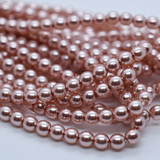 120 Beads - Rose Creme - 4mm Round Czech Glass Pearl
