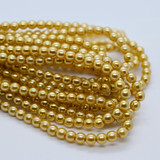 120 Beads - Gold - 4mm Round Czech Glass Pearl