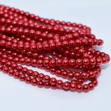 120 Beads - Christmas Red - 4mm Round Czech Glass Pearl