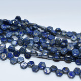 Two Hole Honeycomb (30 Beads) - Royal Blue Picasso - Czech Glass