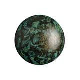 Cabochon Par Puca® 18mm - Metallic Matte Green Spotted - (1 Piece) Czech Glass Cab