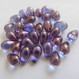 25 Beads - 6x9mm Drop Top-Drilled - Light Amethyst Lumi Bronze - Czech Glass
