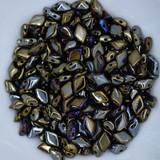 40 Beads - Gemduo Two Hole Beads Jet Brown Iris - Czech Glass Beads