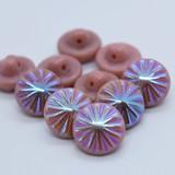 10 Pieces - 14mm Button Opaque Pink AB Starburst, Glass Shank - Czech Glass