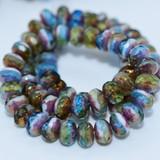 12 Beads - 9x6 Rondelle - Peruvian Opal Transparent/ Opaque Mix Bronze Finish - Czech Glass