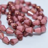 15 Beads - Faceted Drop, Top cut 8x6mm, Pink Silk with Bronze - Czech Glass
