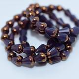 15 Beads - Faceted Drop, Top cut 8x6mm, Purple Opaline with Bronze - Czech Glass