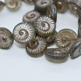 17mm Fossil (4 beads) 2-Sided Matte Tourmaline Green with Platinum Wash Pressed Czech Glass