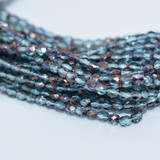 50 Beads - Fire Polished 3mm - Transparent Aqua Bronze half Coat - Czech Glass