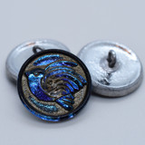 1 Button - 18mm Bird, Electric Blue with Antique Wash - Czech Glass