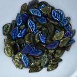 25 Beads - 6x12mm Leaf Top-drill - Transparent Olivine Azuro - Czech Glass Beads