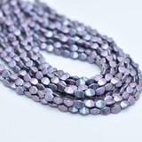 50 Beads - 5x3mm Pinch Polychrome Orchid Aqua Czech Glass