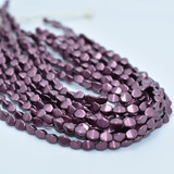 50 Beads - 5x3mm Pinch Saturated Metallic Red Pear Czech Glass