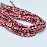 50 Beads - 5x3mm Pinch Saturated Metallic Valiant Poppy Czech Glass