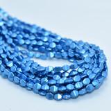 50 Beads - 5x3mm Pinch Saturated Metallic Nebulus Blue Czech Glass