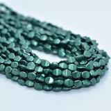 50 Beads - 5x3mm Pinch Saturated Metallic Martini Olive Czech Glass