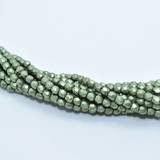 100 Beads - Fire Polished 3mm Sueded Gold Fern - Czech Glass