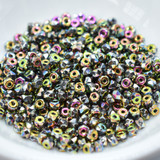 50 Beads - 2x3mm Micro Spacer - Full Vitrail - Faceted Czech Glass