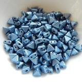 Kheops® par Puca® (25 Beads) Metallic Matte Blue 6mm 2-Hole Triangle Shape Glass