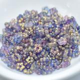 5mm Flat Daisy - 50 Beads - Blue, Pink Gold Splash - Czech Glass