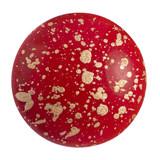 Cabochon Par Puca® 18mm - Opaque Coral Red Splash - (1 Piece) Czech Glass Cab