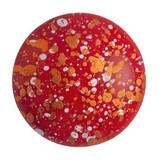 Cabochon Par Puca® 18mm - Opaque Coral Red Tweedy - (1 Piece) Czech Glass Cab