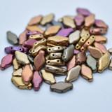 20 Beads - Navette 6x12mm - Matte Metallic Violet Rainbow - 3-Hole Czech Glass
