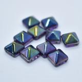 12 Beads - 12mm Pyramid Beadstud - Magic Lilac - Czech Glass