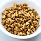 Kheops® par Puca® (25 Beads) Bronze Gold Matte 6mm 2-Hole Triangle Shape Glass