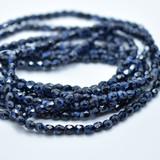 50 Beads - Fire Polished 4mm - Blue Tiger, Blue/Black - Czech Glass