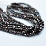 50 Beads - Fire Polished 3mm - Dark Bronze Luster - Czech Glass