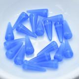 20 Beads - 13mm Spike - Milky Blue - Czech Pressed Glass