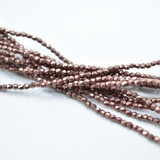 100 Beads - Fire Polished Faceted 2mm Czech Glass Sueded Gold Ash Rose