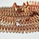 25 Beads - 2-Hole 5x16mm Dagger - Hyacinth Bronze - Czech Glass, CzechMates