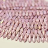 25 Beads - 2-Hole 5x16mm Dagger - Opaque Topaz Pink Luster - Czech Glass, CzechMates