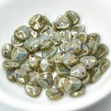 30 Beads - Rose Petal 8x7mm - Milky Peridot Bronze Picasso - Czech Glass