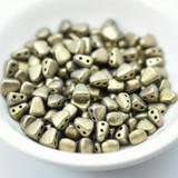 50 Beads - Nib-Bit Two Hole 6x5mm - Metallic Suede Gold- Czech Glass Beads