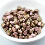 50 Beads - Nib-Bit Two Hole 6x5mm - Polychrome Copper Rose - Czech Glass Beads