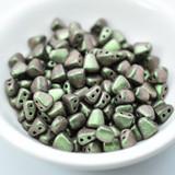 50 Beads - Nib-Bit Two Hole 6x5mm - Polychrome Olive Mauve - Czech Glass Beads