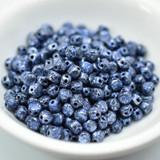 Kalos® par Puca® (50 beads) 2-Hole 4x3mm Drum Shape - Tweedy Blue - Czech Glass