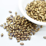 50 Beads - GemDuo Mini 4x6mm Two Hole - Crystal Gold Bronze - Czech Glass