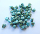 Nib-Bit Two Hole 6x5mm Blue Turquoise Picasso 10 grams Czech glass Beads