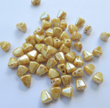 Nib-Bit Two Hole 6x5mm Chalk Honey Drizzle 10 grams Czech Glass Beads